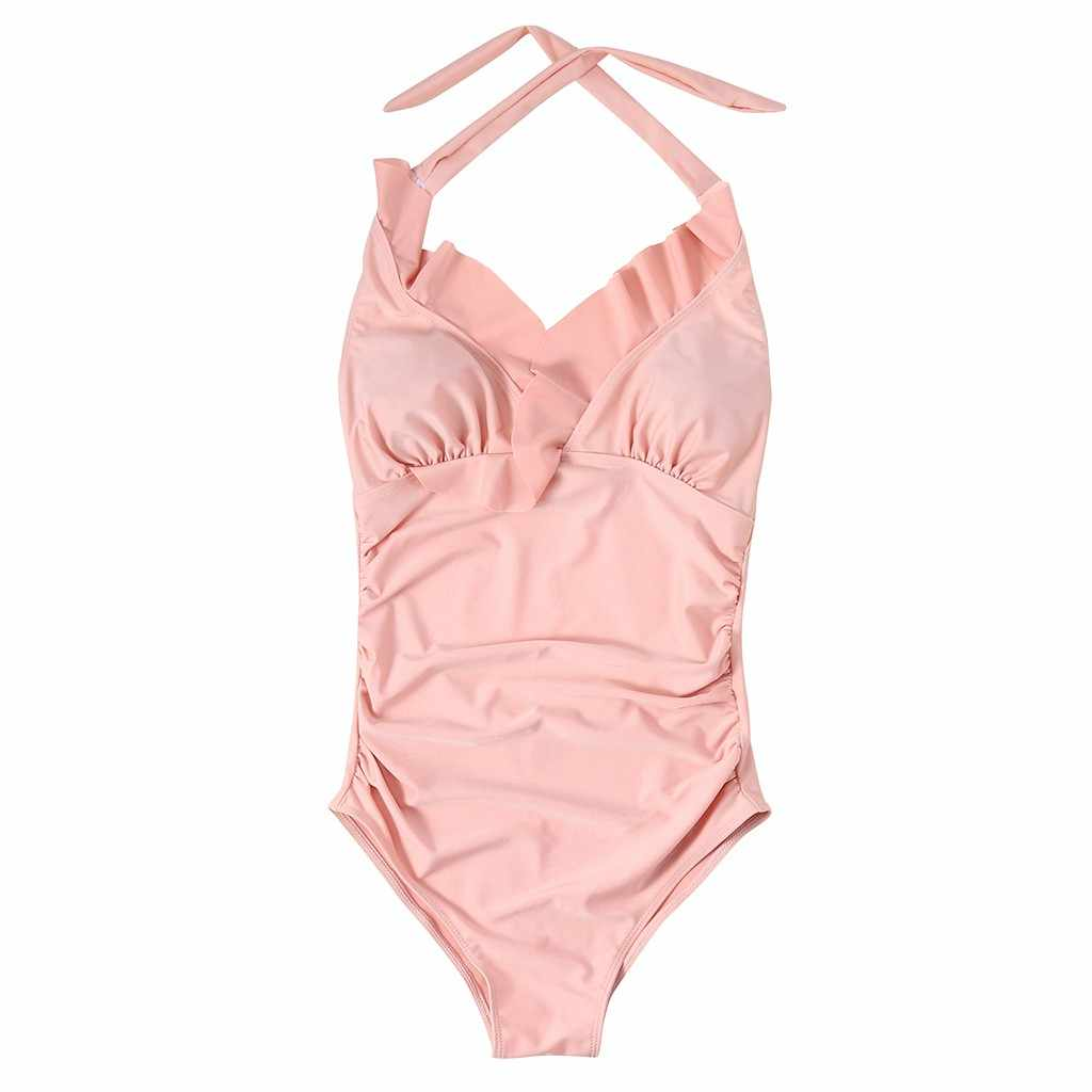 1039057bb80 ... 2019 push up ruffle bikini swimsuit for Maternity Women Solid Ruffled  Flounce Bikinis Pregnant One Piece ...