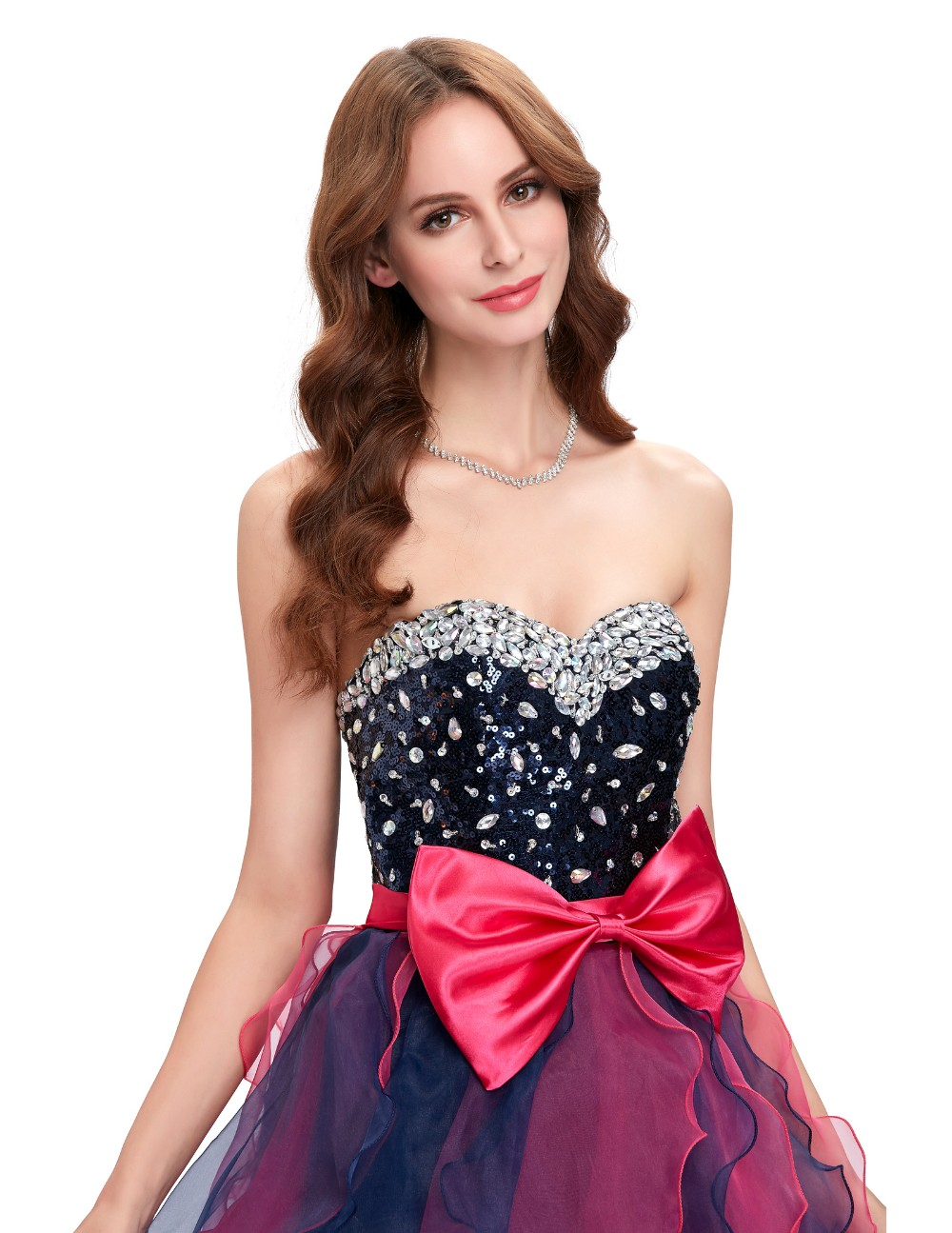Grace Karin Short Prom Dress Ball Gown Robe De Cocktail Colorful Sequin Organza Prom Gowns Sexy Party Special Occasion Dress 13