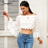 Simplee Flare Sleeve Applique Blouse Shirt Women Off Shoulder Hollow Out Chiffon Blusas Women Tops Summer