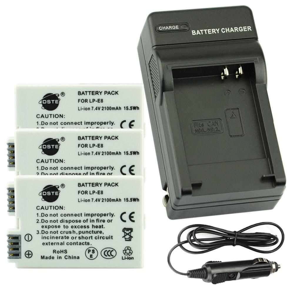 DSTE 3 pièces LP-E8 lp-e8 Caméra Batterie Avec Chargeur De Voyage Kit pour CANON 550D 600D 650D 700D X4 X5 X6i X7i Rebelles T2i T3i T4i T5i