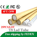25pcs/lot 20W 4Ft Feet T8 1200mm Led Tube Light AC85-265V G13 SMD2835 Led lights Super Bright 2000lm Living Room Bedroom light