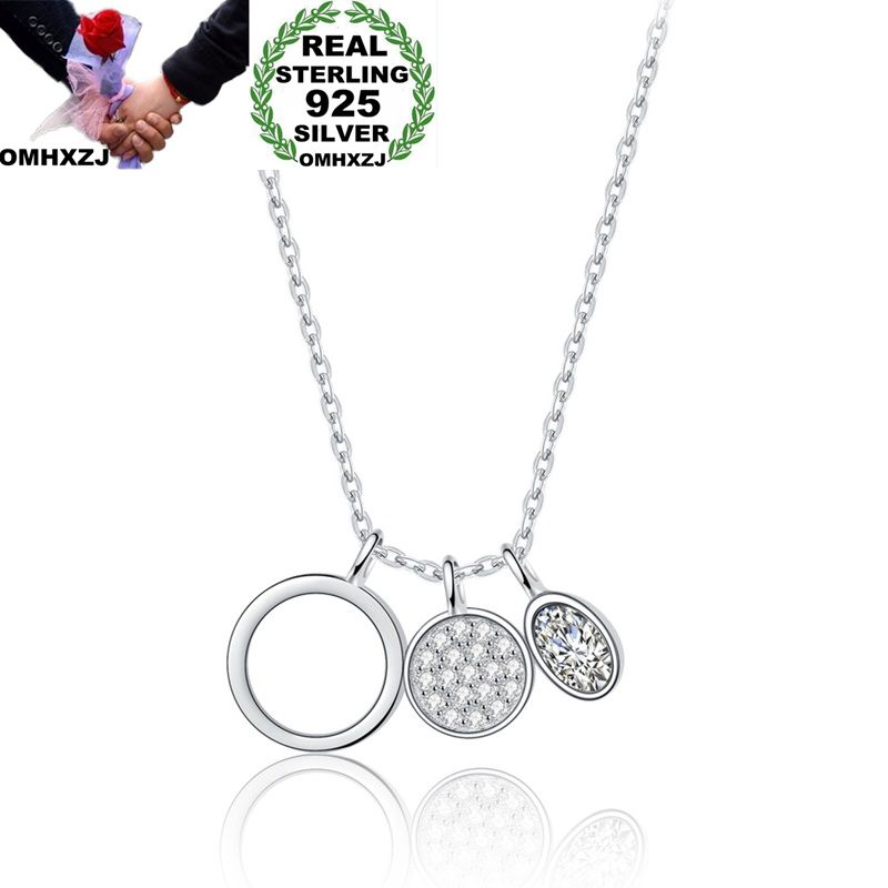OMHXZJ Wholesale Personality Fashion OL Woman Girl Party Gift White Round AAA Zircon 925 Sterling Silver Pendant Necklace NC61OMHXZJ Wholesale Personality Fashion OL Woman Girl Party Gift White Round AAA Zircon 925 Sterling Silver Pendant Necklace NC61