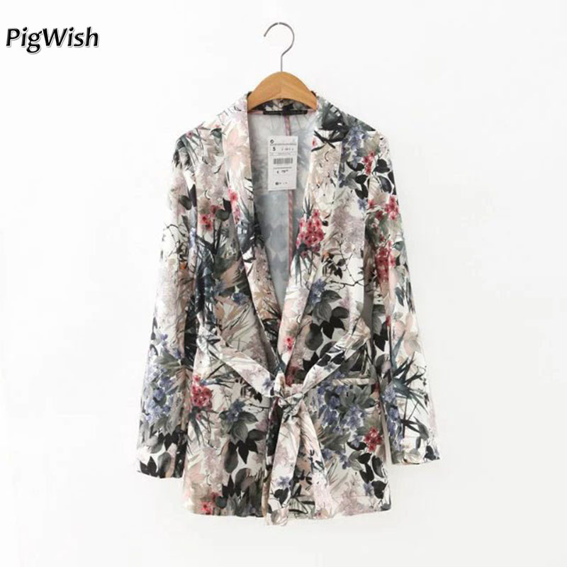 2018 Autumn Women Floral Print Blazer Notched Collar Coat Vintage Flower Long Suit Jacket Outerwear Casaco Feminine Tops