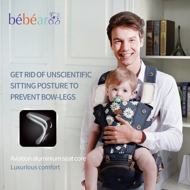 Bebear Хипсит hipseat предотвращает О-образные ноги в 6 методов использования Сердечник авиационного алюминия Рюкзак-кенгуру Научно и воздухопроницаемость Слинг Переноски для детей кенгуру для переноски ребенка