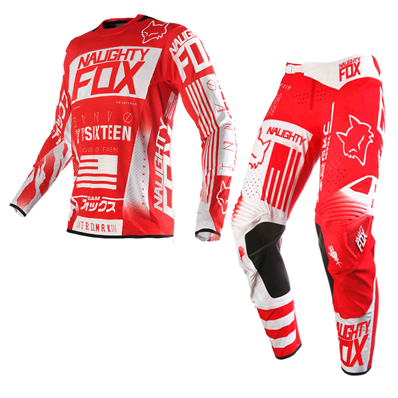 2018 New Design NAUGHTY 180 Off-Road Racing Suits Jersey+Pants DH MTB MX AM Motocross Combos Downhill Dirt Bike Set scoyco professional motorcycle dirt bike mtb dh mx riding trousers motocross off road racing hip pads pants breathable clothing