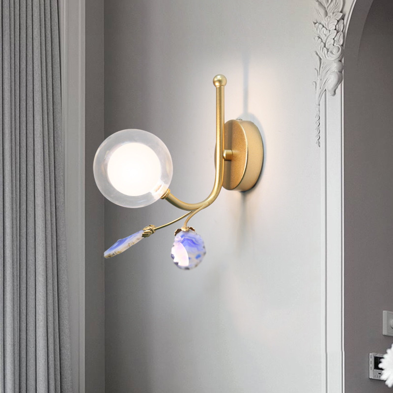 Modern LED Wall Light Sconce Glass Iron Bedroom Bedside Living Room Stair Wall Lamp Lights Fixture Home Deocr Wall Lamps Sconces
