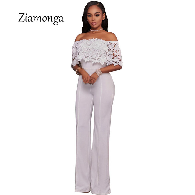b772afbbbeb16 Ziamonga Summer Women Elegant One Piece Jumpsuit Romper Sexy Off White Lace  Top Strapless Jumpsuit Female Wide Leg Overalls