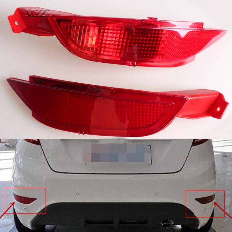 New car RED Tail Rear bumper reflector lamp Brake light rear fog lights for Ford Fiesta 2009 2010 2011 2012 2013 2014 Hatchback rear fog lamp spare tire cover tail bumper light fit for mitsubishi pajero shogun v87 v93 v97 2007 2008 2009 2010 2011 2012 2015
