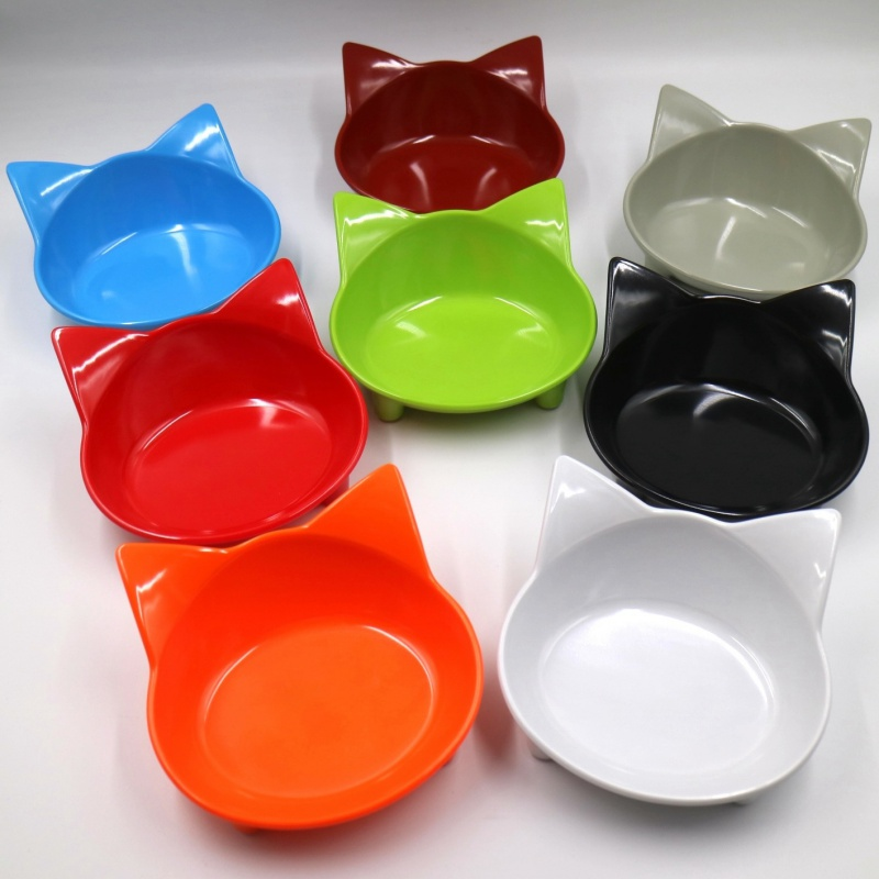 Pet Bowl Cute Cat Ears Color Cat Dog Food Bowl Melamine Slip Pet Supplies Blue Yellow Red Dog Feeder Feeding Supplie