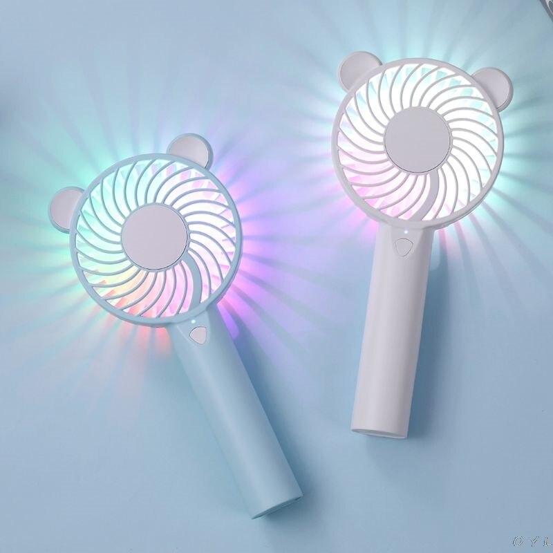 Cute Bear Cartoon Handheld USB Rechargeable Fan With LED Light Cooler Portable 3 Speed Adjustable Desktop Cooling Fan