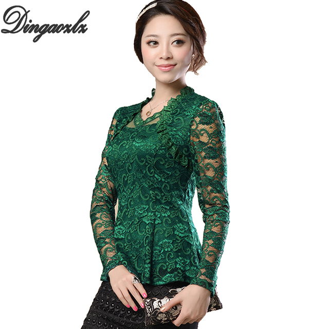 25eee28402847 New Fashion 2018 renda blusas femininas Women Lace shirt Hollow lace blouse  shirt female Plus size Floral lace Tops