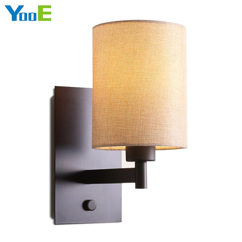 YooE Indoor lighting Vintage iron wall lamps 110V 220V E27 cloth lampshade modern wall lights for home hotel bedroom decoration