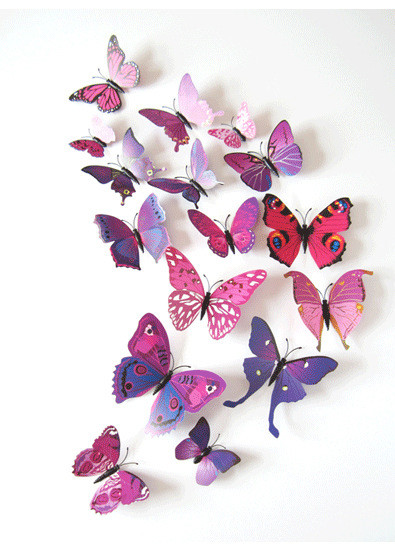 12pcs/set New Arrive Mirror Sliver 3D Butterfly Wall Stickers Party Wedding Decor DIY Home Decorations rysunek kolorowy motyle