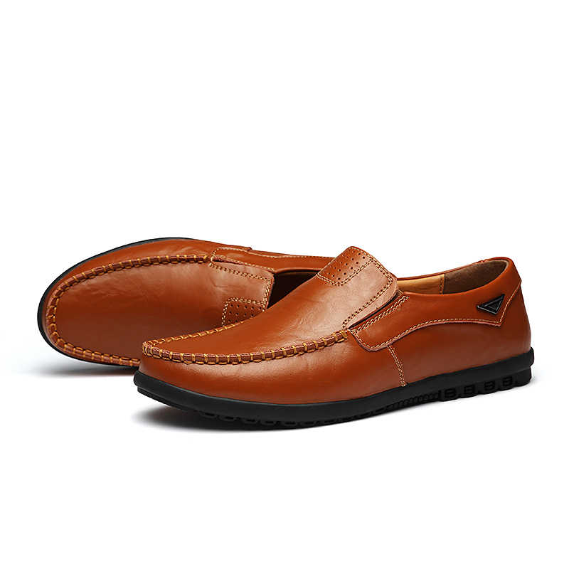 Nieuwe Ontwerp Echt Lederen Schoenen Mannen Loafers Platte Slip Op Mannelijke Sneakers Lederen Mocassins Casual Schoen Mannen Lederen Adult Footwear