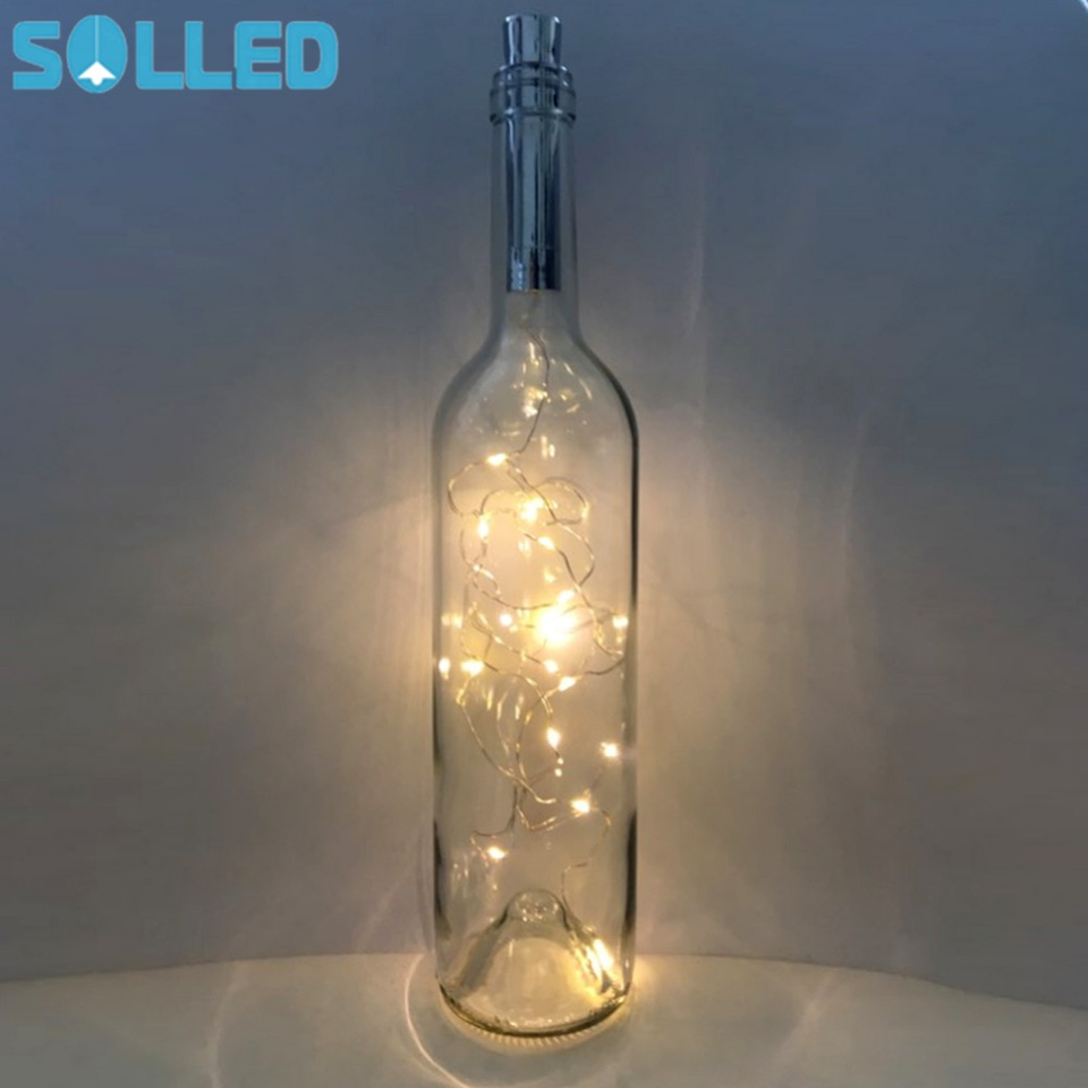 цены SOLLED 2M 20LED Fairy String Light Battery Power Bottle Lights String Lights for Bistro Wine Bottle Starry Bar Valentines
