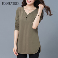 BOBOKATEER V Neck Cotton Plus Size Long Sleeve Black Gray Loose T Shirt Women T Shirts