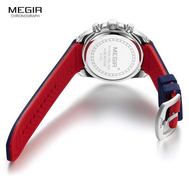 Megir Chronograph Luminous Waterproof Silicone Rubber Strap Quartz Watches 5