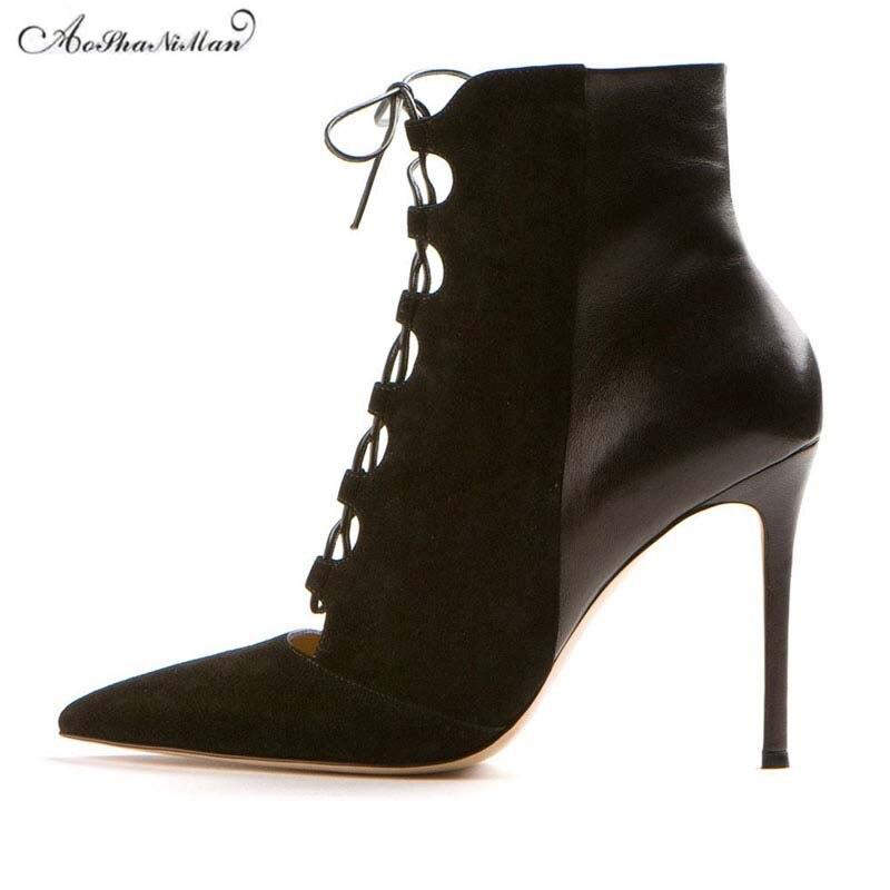 4852383e357db Najnowszy 2019 wiosna kobiety oryginalne skórzane buty damskie Sexy pointed  toe Hollow wiązanej buty panie projektowanie mody super wysokie szpilki