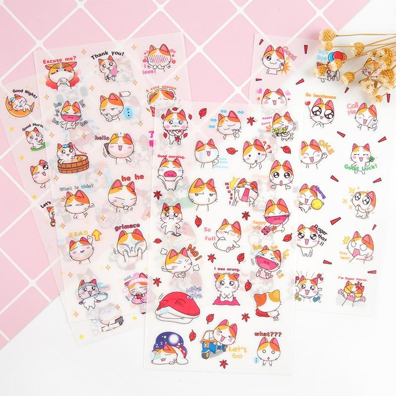 6 шт./упак. Kawaii счастливую жизнь оранжевого кота декоративные Канцелярский набор наклеек для скрапбукинга