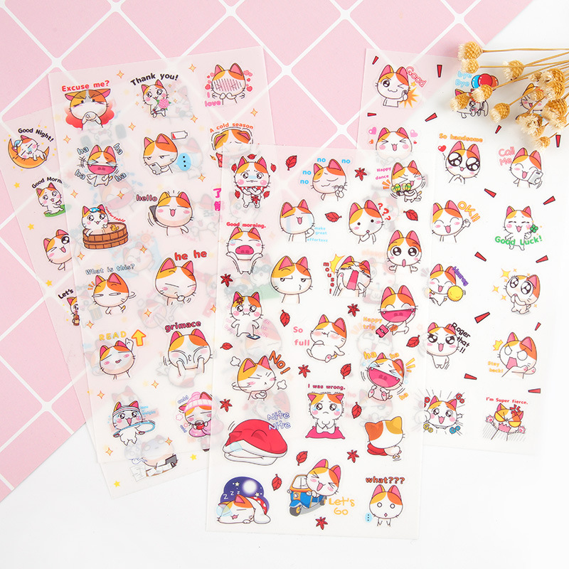 6-pcs-pack-kawaii-happy-life-of-orange-cat-decorative-stationery-stickers-set-scrapbooking-diy-diary-album-stick-lable
