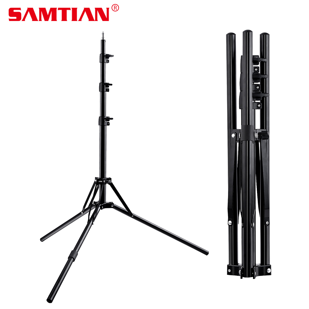 SAMTIAN 185cm professional DSLR Camera Tripod Foldable Light Stand Tripod with 1/4 Screw for LED Ring Light Photo Video Shoot