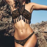 Micro Sport Black Bikinis Set Swimsuits Padded Two Pieces Biquinis Brazilian Bikini Push Up Retro Tassel