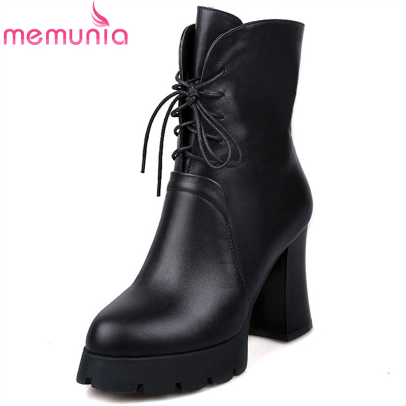ФОТО new arrive 2017 high quality autumn winter boots thick high heel pointed toe simple genuine leather ankle boots