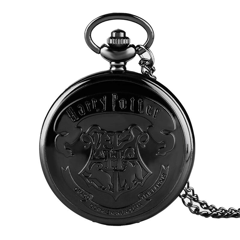 Famous Movie Extension Black Hogwarts School Logo Case Quartz Pocket Watch Retro Black Necklace Chain For Men Women