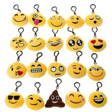 20 Pack Emoji Keychain Lovely Plush Pillows Emoticon Key Ring Bag Decor