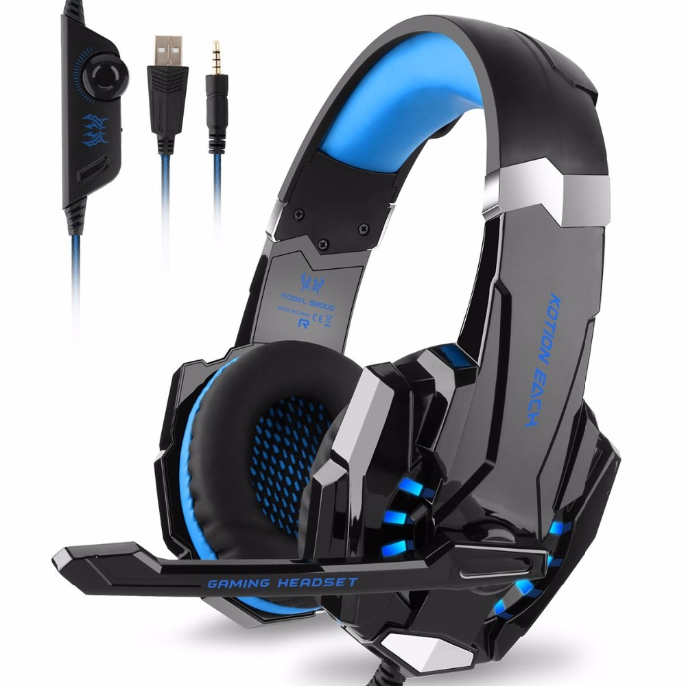 OGNI G9000 3.5mm USB Gaming Headset Stereo Bass Luminoso Con Microfono LED Gaming Headphone Gamer Cuffie Per computer PS4