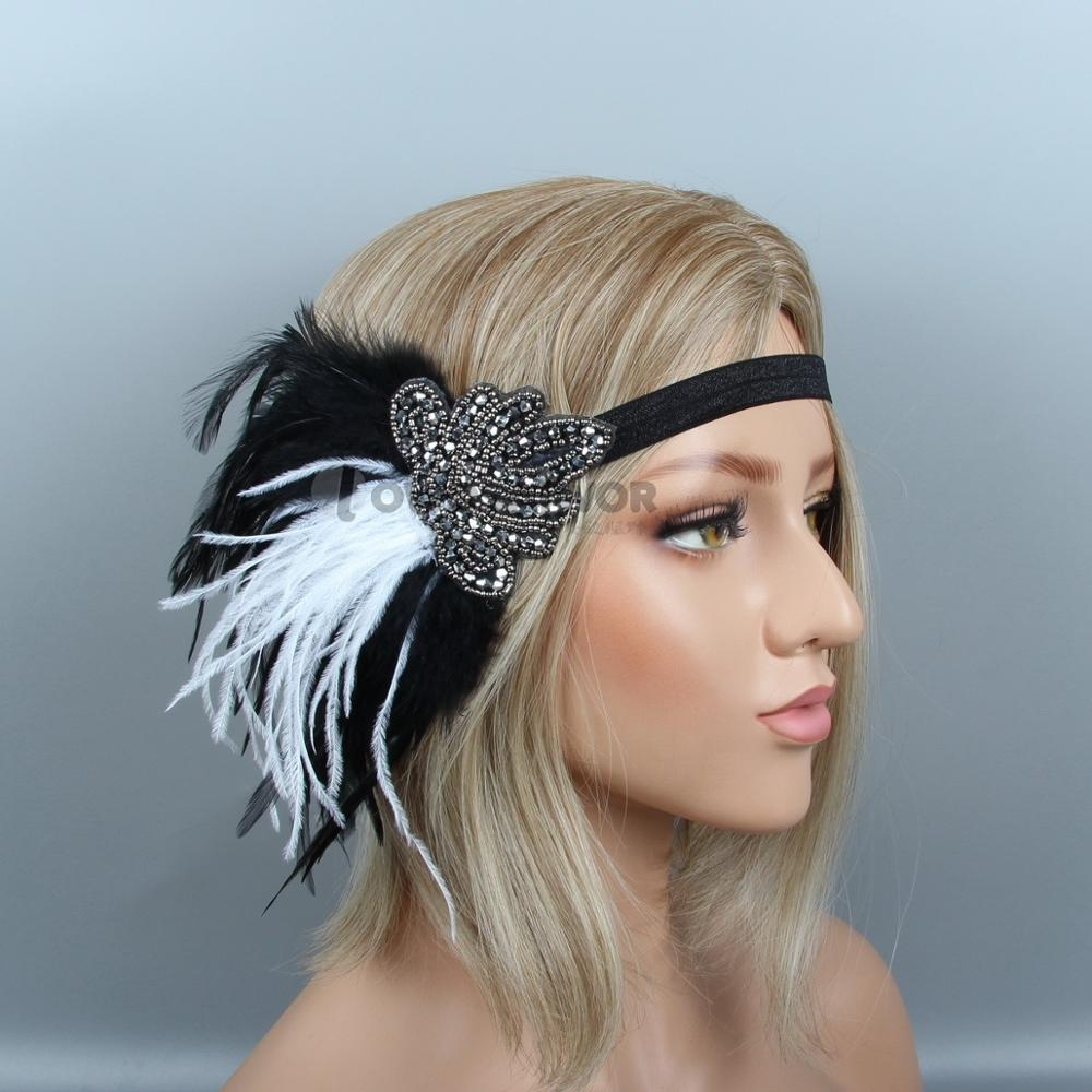 us $10.08 |new design headband wedding hair accessories crystal bridal head band beaded black feather headpiece-in women's hair accessories from