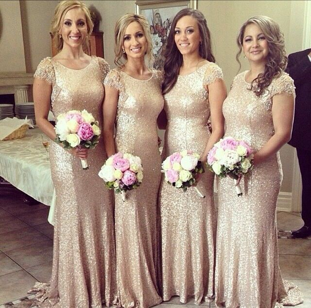 New Fashion Lace Cap Sleeves Sequined Vestido De Noite Dress To Wedding Party Long Gold Bridesmaid