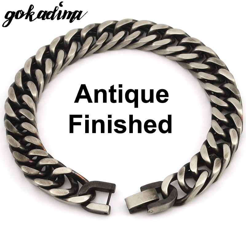 GOKADIMA 18 New Style Antique Finished Stainless Steel Chain Bracelet Men Jewelry Party Christmas Gift 7