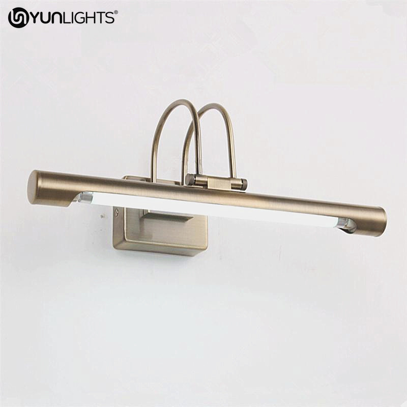 YUNLIGHTS 51CM Retro Bathroom Wall Lamp Fixtures Mirror Light Led 12W Vintage Aluminum Wall Sconces Light For Make Up Mirror 40cm 12w acryl aluminum led wall lamp mirror light for bathroom aisle living room waterproof anti fog mirror lamps 2131