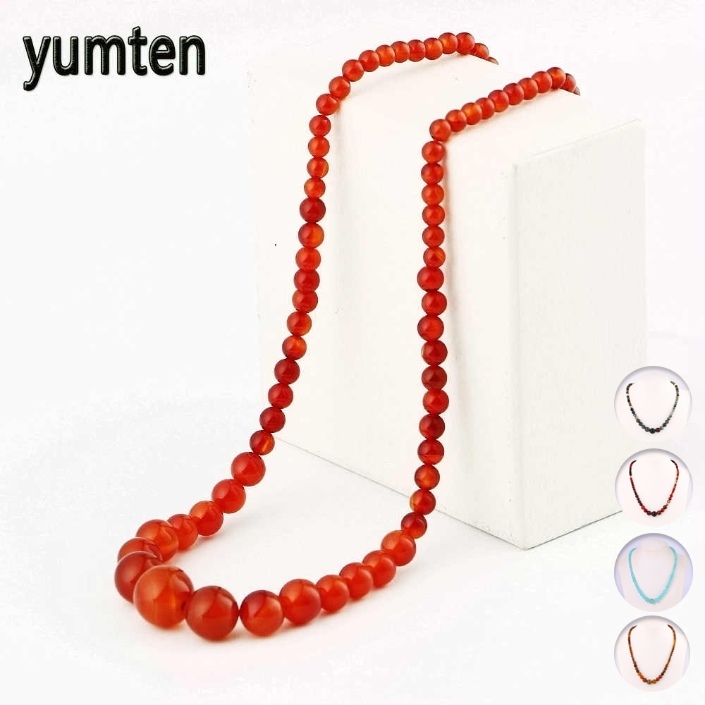 Yumten Natural Agate Necklace Women Stone Jewelry Crystal Chain Choker Men Onyx Fashion Accessories Party Gemstone Amber Gift