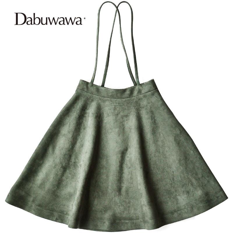Dabuwawa Fashion Knee Length Women Fall Skirts Winter A Line Skirt Faldas Mujer Suspender Casual High Waist Skirt #D17CRS018 dabuwawa woolen a line deep v split high waist plaid pleated skirt elegant suspender skirt sleeveless jumper skirts d17cdx009