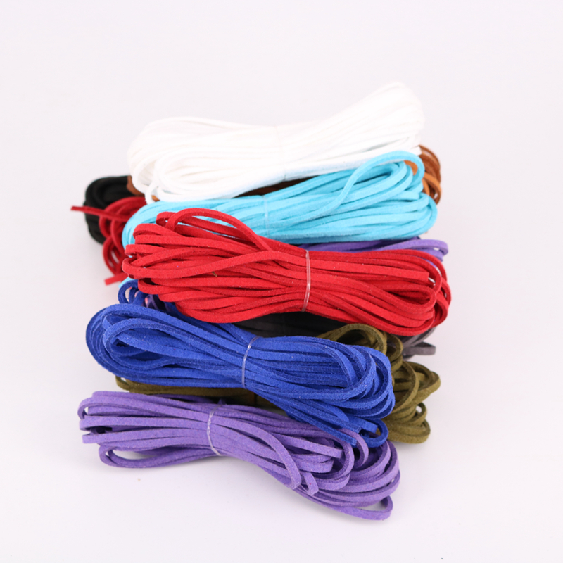 mixed color black white brown 5M 3mm Flat Faux Suede Korean Velvet Leather Cord string Rope Thread Lace Findings in Jewelry Findings Components from Jewelry Accessories