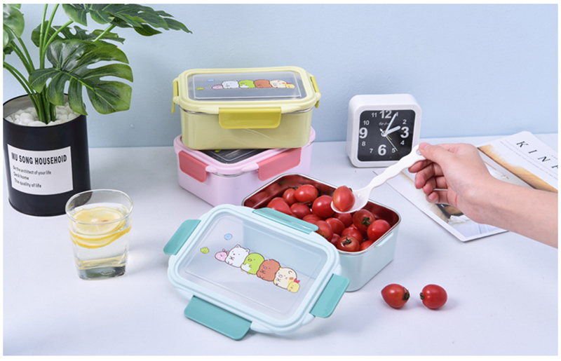TUUTH Cartoon Lunch Box  Stainless Steel Double Layer Food Container Portable for Kids Kids Picnic School Bento Box B2