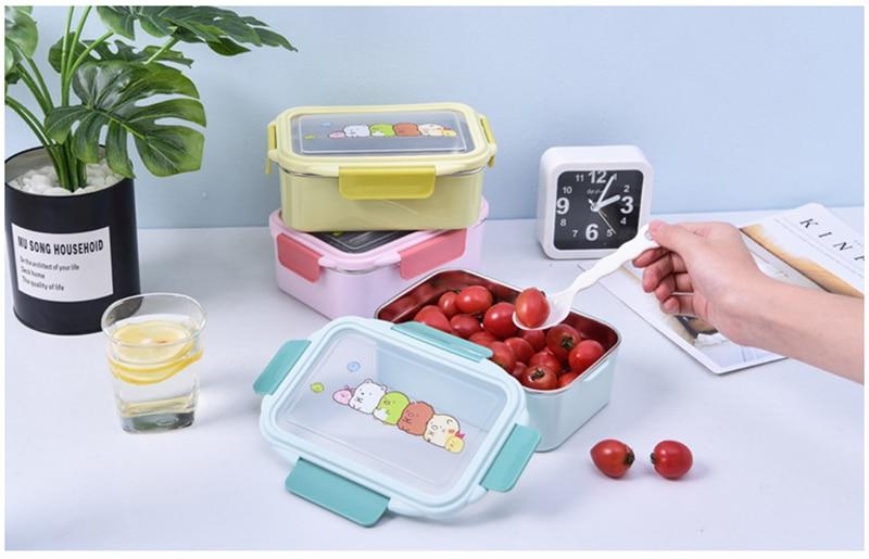 TUUTH卡通便当盒儿童双层不锈钢食品便携容器儿童野餐学校便当盒B2