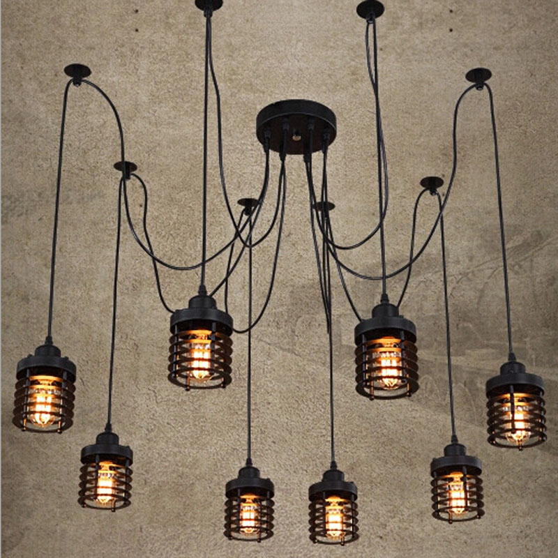 ZX LOFT American Iron Chandelier Vintage Spider LED E27 Industrial Lighting Creative Design for Bar Restaurant Shop Pendant Lamp