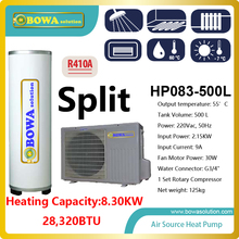 28 000BTU split type Hi COP heat pump water heater with 500L tank for meat shop