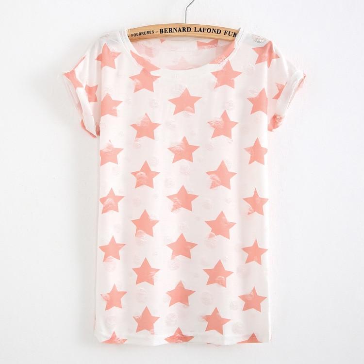 HTB1df34PFXXXXcbXpXXq6xXFXXXP - T shirt Ladies short sleeve star print vintage casual T-shirt