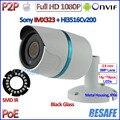 CALIENTE 2MP POE mini cámara 1080 P ONVIF ip 2.4 cámara de circuito cerrado de televisión al aire libre IMX323 Sensor IP66 24LED Seguridad, 3.6mm de la Lente, soporte, IR-CUT