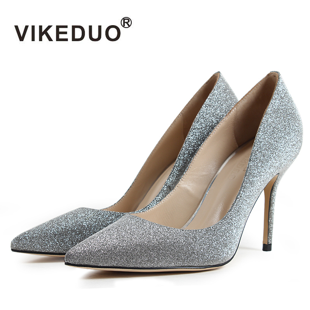 Vikeduo Women Silver Fashion Wedding Pumps Solid High Heels Ladies Handmade Shoes Pointed Toe Satin Thin Heel Zapatos de Mujer