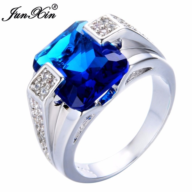 JUNXIN Luxury Male Blue Finger Ring Fashion Jewelry 925 Silver Rings For Men Vintage Wedding Engagement Ring Best Gifts