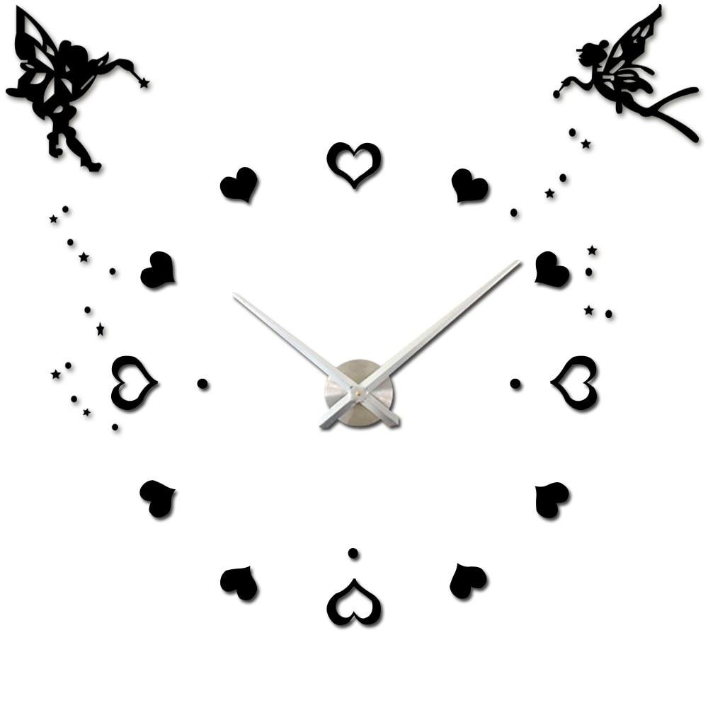 Angel Wings Hearts Large Clock Modern Mute Mechanism DIY 3D - Dekorace interiéru