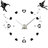 Angel Wings Princess Hearts Modern Large Waterproof Shower Time Watch Digital Bathroom Kitchen Wall Clocks Silver