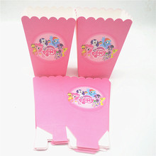 6pcs/set My Little Pony Party Supplies Kids Birthday Party Supplies Popcorn Box Favor Accessory Birthday Party Decoration