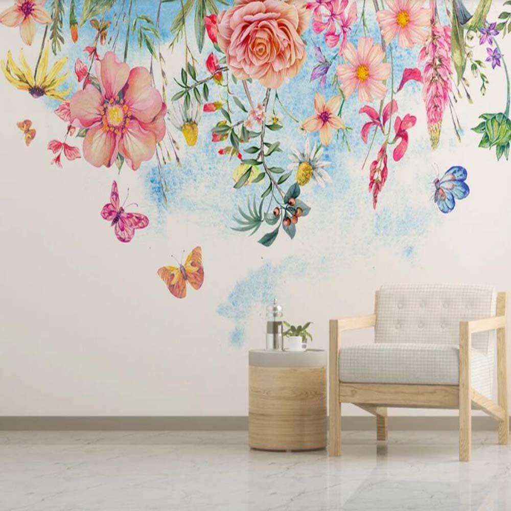 Watercolor Flower Wallpaper Mural Hand Painting Floral Wall Murals