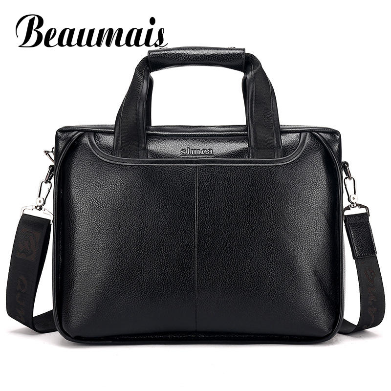 Beaumais 2017 Men Casual Briefcase Business Shoulder Bag Messenger Bag Men's Briefcase Leather Handbag Bag Laptop Bag DF0332 qibolu handbag men bag briefcase business travel laptop messenger crossbody shoulder bag sacoche homme bolsa masculina mba17